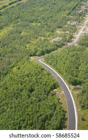 Route in the forest near Montreal. Aerial view