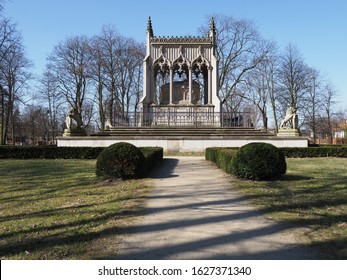 Route to Potocki mausoleum in park at Wilanow in european Warsaw capital city of Poland, clear blue sky in 2019 cold sunny spring morning day on March.