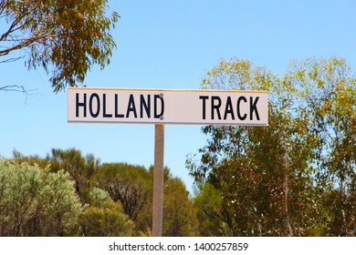 Route sign of Holland Track, unpaved 4wd road adventure from Broomehill to Coolgardie, Western Australia