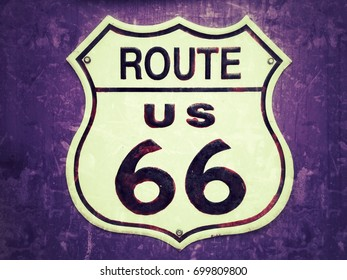 Route US 66 grunge sign.