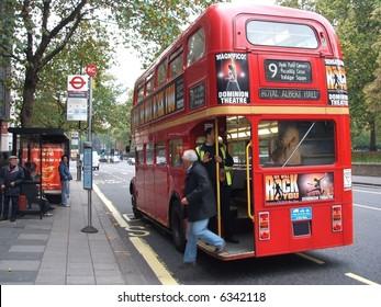 Routemaster Bus at the Royal Albert Hall stop.