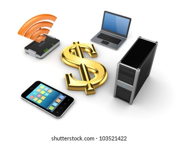 Router,notebook,PC,mobile phone and dollar sign.Isolated on white background.3d rendered.