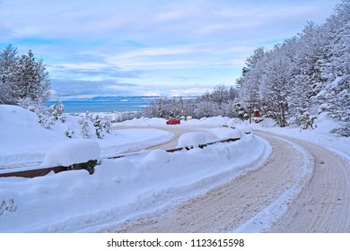 Routes and streets of Ushuaia, after an intense snowfall