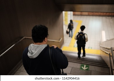 routine life of salaryman step down to working by metro train in japan