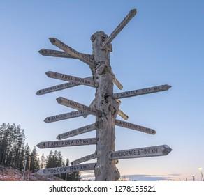 Rovaniemi city distance signpost