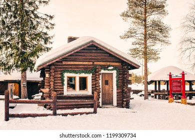 Rovaniemi, Finland - March 5, 2017: Wooden house in Santa Claus Village in Rovaniemi in Lapland in Finland.