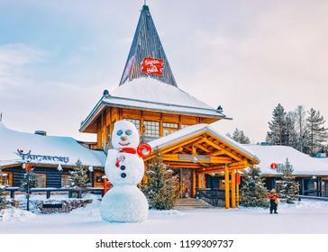 Rovaniemi, Finland - March 5, 2017: Snowman at Santa Claus Village in Rovaniemi in Lapland in Finland