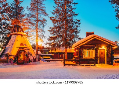 Rovaniemi, Finland - March 5, 2017: Traditional houses at Santa Claus Village in Rovaniemi in Lapland in Finland.