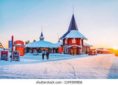 Rovaniemi, Finland - March 5, 2017: People at Santa Claus Holiday Village in Rovaniemi in Lapland in Finland.