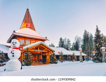 Rovaniemi, Finland - March 5, 2017: Snowman and Santa Claus Office in Santa Claus Village in Rovaniemi in Lapland in Finland.