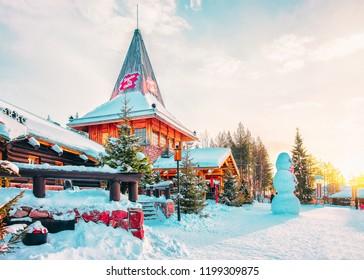 Rovaniemi, Finland - March 5, 2017: Snowman at Santa Claus Village in Rovaniemi in Lapland in Finland.