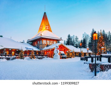 Rovaniemi, Finland - March 6, 2017: Snowman at Santa Office at Santa Claus Village in Rovaniemi in Lapland in Finland.