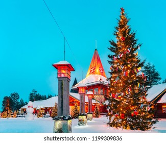 Rovaniemi, Finland - March 6, 2017: Arctic Circle street lamps in Santa Claus Village in Rovaniemi in Lapland in Finland.