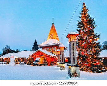 Rovaniemi, Finland - March 6, 2017: Arctic Circle street lanterns in Santa Office at Santa Claus Village in Rovaniemi in Lapland in Finland.