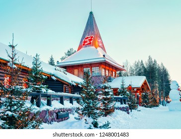 Rovaniemi, Finland - March 6, 2017: Santa Office and Christmas trees in Santa Claus Village. Rovaniemi, Lapland, Finland, on Arctic Circle in winter. Outdoor