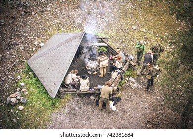 Rovaniemi (Finland) A view from the top of a tower in the woods in Lapland where mountaineers are resting and barbecuing. This is a popular destination for winter sports. Summer 26.08.2017.