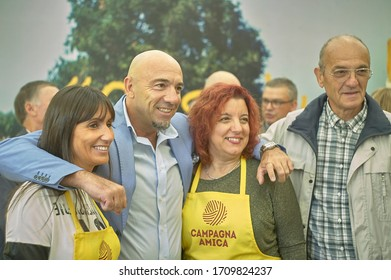 ROVIGO, ITALY 24 MARCH 2020: Fruit and vegetable market organized by Coldiretti and Campagna Amica association