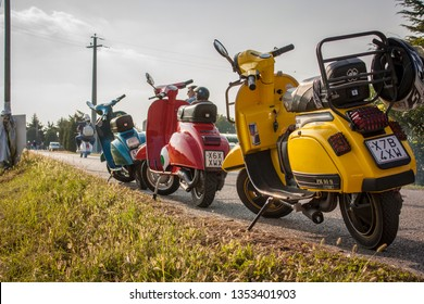 ROVIGO, ITALY 29 MARH 2019: Piaggio Vespa rally: a historic vehicle that has revolutionized the world of two wheels for decades, an icon of made in italy