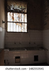 Rovigo, Italy - August 15, 2019. Former psychiatric hospital of the town. Old kitchen.