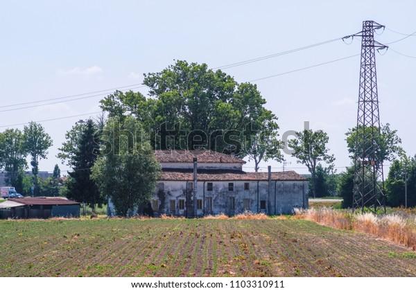 Rovigo, Italy - June, 1, 2018: farm in Rovigo, Italy