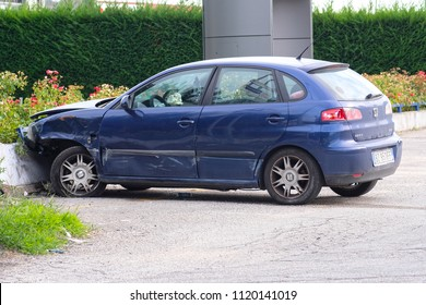 Rovigo, Italy - June, 24, 2018: crashed car in Rovigo, Italy