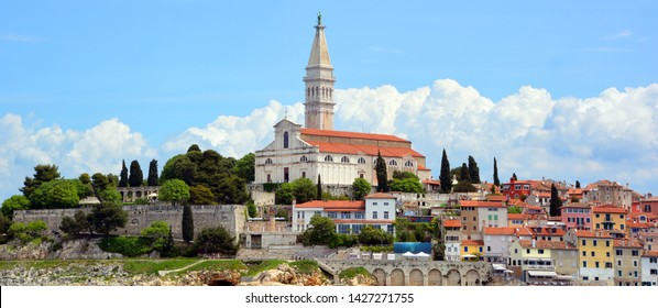 ROVINJ CROATIA 05 22 19: Church of St. Euphemia & Rovinj, Croatia situated on the north Adriatic. The town is officially bilingual, Italian and Croatian, hence both town names are official and equal.