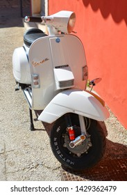 ROVINJ CROATIA 05 22 19: White Vespa is an Italian brand of scooter manufactured by Piaggio. The name means wasp in Italian.