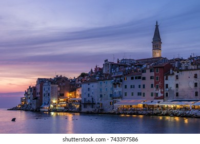 Rovinj Croatia during sunset at the adriatic coast by the old town of Rovinj Istria