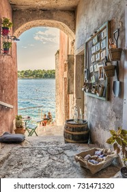 Rovinj Croatia Istria during a cloudy summer day, old street central view at Rovinj Croatia Istria Europe September 2017