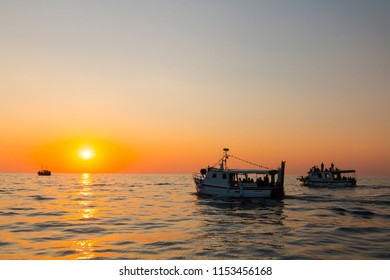 Rovinj, Croatia - July 25, 2018: Tourist boats sail out to sea at sunset to watch Dephine off the Croatian coast.