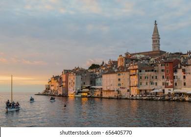Rovinj, Croatioa, September 26, 2015: Late light at Rovinj harbor.