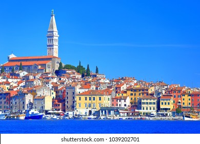 Rovinj old town on the shore of the Adriatic sea, Croatia