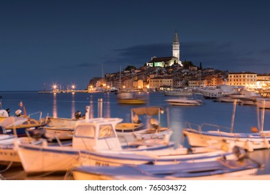 Rovinj, seen from the harbor before the sunrise