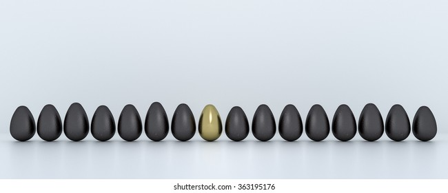 A Row of 16 Easter eggs, Black and Golden