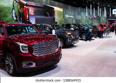 Row of 2019 GMC SUV's exposition on Chicago Autoshow 02/17/2019