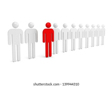 Row of abstract white people with one red outstanding figure