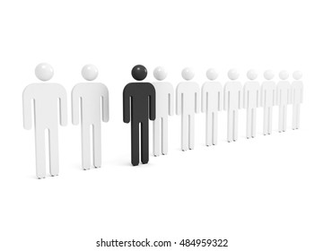 Row of abstract white people with one black outstanding figure, 3d illustration