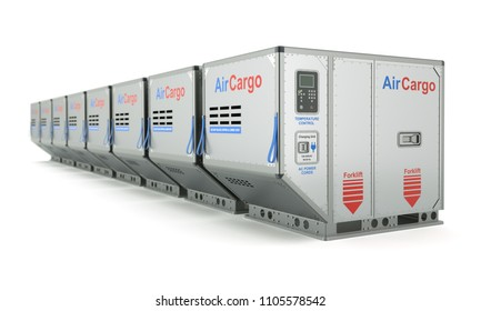 Row of air cargo container with metal pallet - 3D illustration