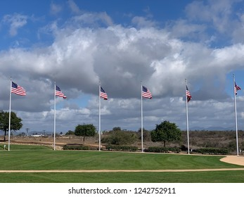 Row of American Flags With Text Space