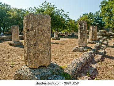 Row of ancient columns at Olympia