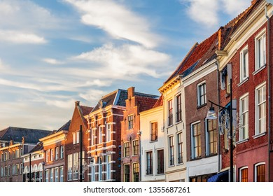 Row of ancient houses in the Dutch city center of Zutphen, The Netherlands
