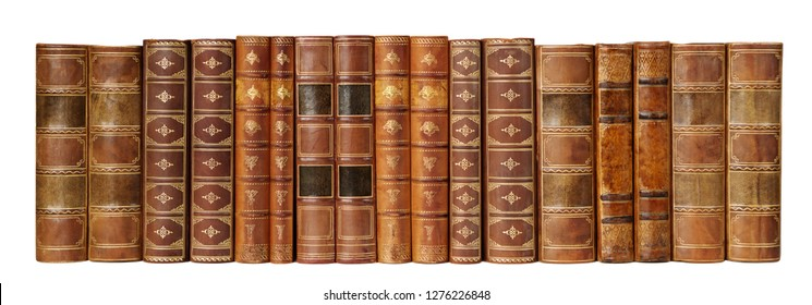 Row of antique books in a leather hardcover isolated on white background