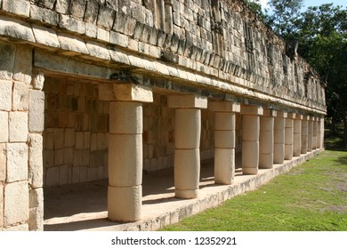 Row of antique maya columns with green grass