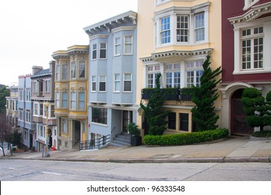 Row of apartment buildings on a steep street in San Francisco