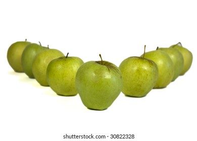 Row of apples forming letter V
