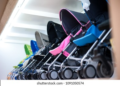 Row of baby stroller in shopping mall