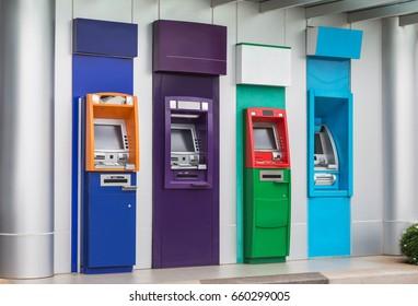 row of banking machine or ATM automatic teller machine cash money machine