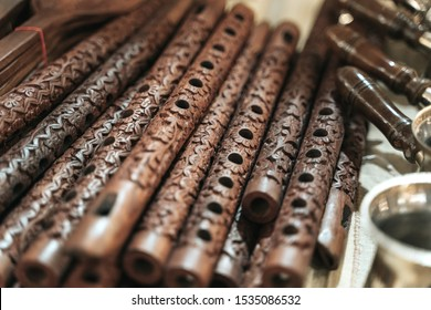 Row of Bansuri, traditional flute instrument from India