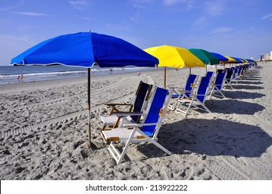 Row of beach chairs and umbrellas