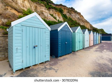 A row of beach huts at Bournemouth beach in Dorset